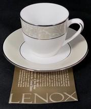 Lenox Larkspur Demitasse Cup & Saucer Beige Floral Rim Platinum Trim NEW - $14.80