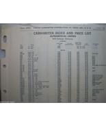 ORIGINAL GENUINE CARTER CARBURETOR INDEX + PRICE LIST 24584 10/11, 10/52 - $5.75