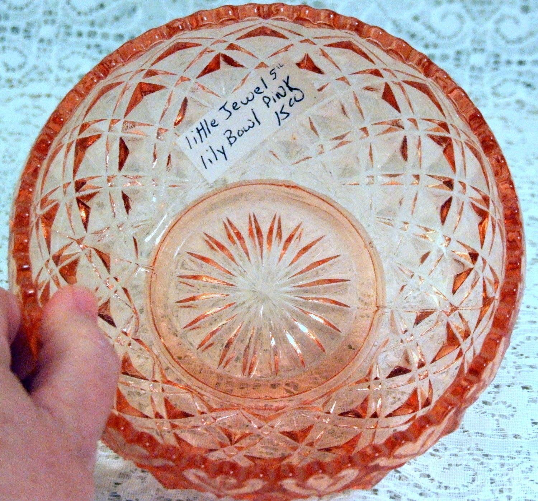 Vintage Imperial Diamond Block Pink Depression Glass Lily Bulb Bowl