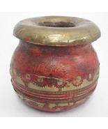 "Burgundy Wood Pot Urn w Brass Embellishment 4"" x 5"" Distressed Decorator... - $19.79"