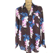 NEW Ann Taylor Med Blouse Burgundy Wine Blue Pink Floral Long Sl Tunic Shirt NWT - $29.95
