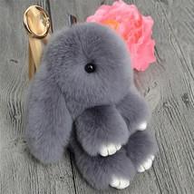 1 pcsMini Genuine Rabbit Fur Pom Pom Key Chain Women Trinket Rabbit Toy ... - $7.99