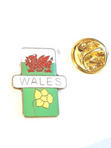 gold welsh , wales and daffodil Lapel Pin Badge / tie pin. in gift box enamel fi