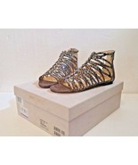 NEW! JIMMY CHOO women shoes KAYE FLAT, BRONZE MIX, SHIMMER LEATHER, SIZE... - $477.62