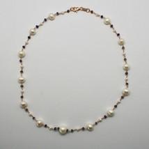 Silberkette 925 mit Perlen Weiß Fw und Iolite Made in Italien - $138.55