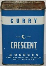 Vintage spice tin CRESCENT Curry moon pictured Crescent Manufacturing Se... - $9.99