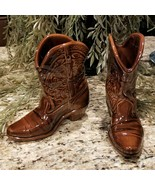 Vintage Frankoma Pottery Cowboy Boots Planter Vase Bookends Pen Holder Set - $69.95