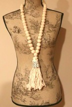 """NEW! Wood Bead Garland With SHELL Tassel 24"""" - $14.80"""