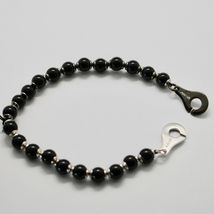 Silver 925 Bracelet with Onyx round BSP-4 Made in Italy by Maschia image 4
