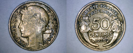 1939 French 50 Centimes World Coin - France - $4.99