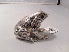 Silver tone handsome solid heavy frog desk paperweight
