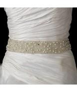 Ivory Pearl & Glass Bead Encrusted Bridal Wedding Dress Ribbon Sash - €117,36 EUR