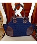 VERA BRADLEY Navy Blue Microfiber Satchel Faux Leather Trim Handbag - $35.00