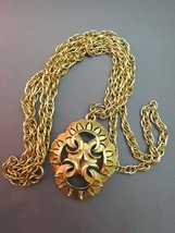 VTG Couture Trifari Pendant Necklace Double Chain Thick Gold Plated Designer EUC image 2