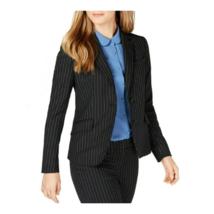 Anne Klein Womens Blazer Pinstriped Two-button Jacket Collared Black Car... - $34.99