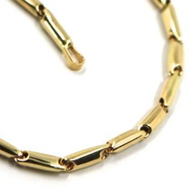 """18K YELLOW GOLD CHAIN NECKLACE ROUNDED ALTERNATE TUBE LINKS, length 60 cm, 24"""" image 1"""