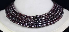 5 LINE 1057 CARATS NATURAL GARNET FANCY GEMSTONE LADIES BEADS NECKLACE image 3