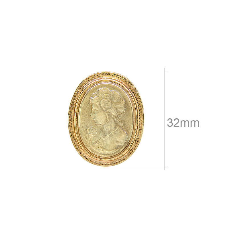 14k Yellow Gold Large Oval Made In Italy Cameo Portrait Pendant