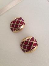 Vintage Gold Tone Red Enamel Square Diamond Pattern Clip On Earrings - $30.00
