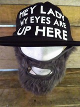 Hey Ladies My Eyes Are Up Here Beard Truckers Snapback Adult Hat Cap - $12.86