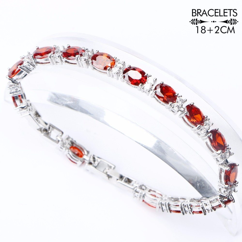 Primary image for 925 Sterling Silver Costume Bridal Jewelry Sets Women Red Zircon Bracelets Neckl