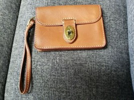 FOSSIL BROWN STITCHED LEATHER  WALLET WRISTLET SMALL PURSE BRASS TURN LO... - $23.99