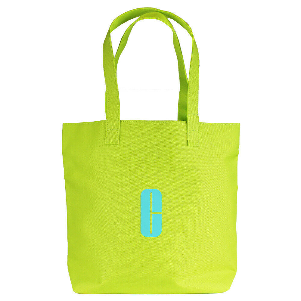 "Primary image for Clinique Lime Green w/Aqua ""C"" Logo Print Open Shopping Shoulder Tote Beach Bag"