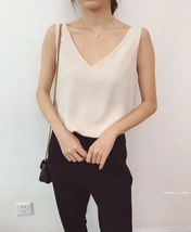 Women V Neck Sleeveless Chiffon Tank Tops Summer Chiffon Tanks Bridesmaid Blouse