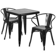 23.75'' Square Metal Indoor-Outdoor Table Set with 2 Arm Chairs (9 Varia... - $286.00
