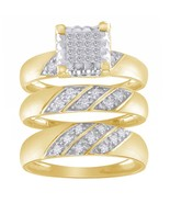 0.46 Carat Round Diamond 10k Yellow Gold Finish Bridal Trio Set Engageme... - $174.00