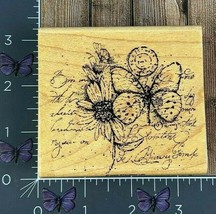 Stampin' Up! Flower Butterfly Seal Script Rubber Stamp 2005 Wood Mount #... - $4.70