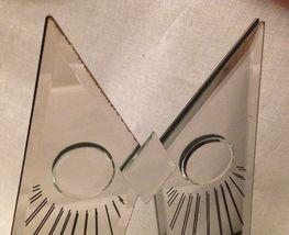 BIG Vintage JON GILMORE Art Glass OWL Mirror Sculpture Era Mid Century Signed image 4