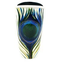Starbucks Traveler Mug 12 oz. Ceramic Travel Cup PEACOCK FEATHER 2015 - $35.88