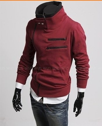 Men Double Collar Long Sleeve New Fashion Inclined Zipper Casual Hoodies