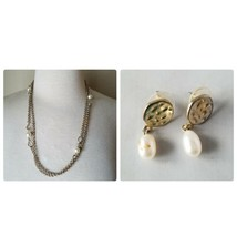 Vintage Fashion Jewelry Set Silver Tone Metal Faux Pearl Earrings & Neclace - $24.26