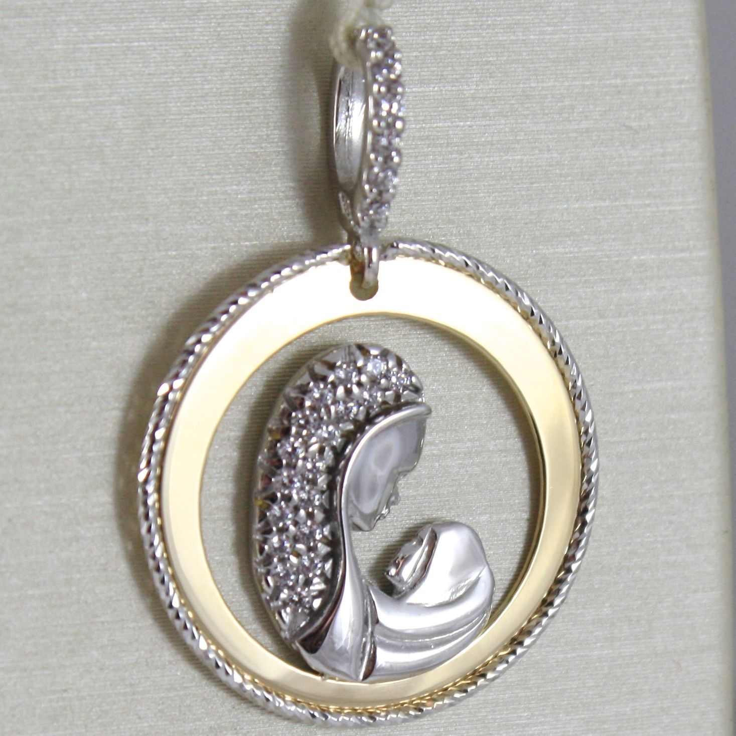 PENDANT MEDAL ROUND YELLOW GOLD WHITE 750 18K Mary jane Jesus ZIRCON, WORKED