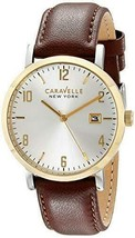 Caravelle Men's 44B108 Analog Quartz Brown Color Date White Dial Round W... - $61.74