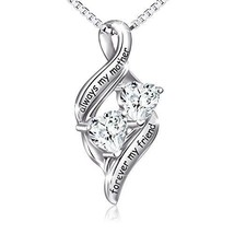 Sterling Silver Heart Pendant Necklace Double Love Heart Fine Mother Jew... - $39.78