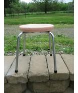 "Vtg 1960s Mid Century Modern Pink Vinyl Sparkle Stool Seat Chair 11 5/8""... - $20.99"