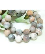 Pink Botswana Agate Gemstone Round Beaded Necklace 20 inch - $68.00