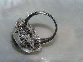 Estate 925 Sterling Silver Signed Large Faceted Black Glass Cab in Open Scroll image 4
