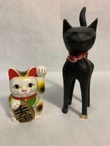 Vintage Cat Collection Ceramic Wood Japan Folk Art Sculpture Coin Bank - $39.59