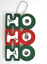 HO HO HO Door Hanger Holiday Christmas Decoration Red Green Hand Painted... - $12.86