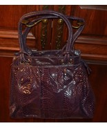 LEE SANDS VINTAGE PURPLE FAUX LEATHER  CROC PURSE DOUBLE HANDLES MOD RET... - $22.05