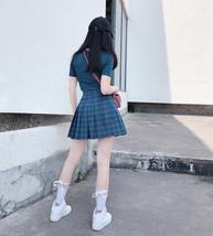 Women Girls Green Plaid Skirt Plus Size Pleated Plaid Skirt Pleated Tennis Skirt image 4