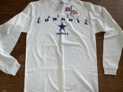 Primary image for Dallas Cowboys Troy Aikman L/S t-shirt Medium  vintage NOS NWT 1990s