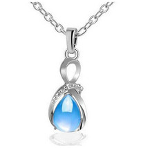 Women Water Drop Birthstone Blue Pendant Charm Necklace Gifts - $9.94