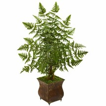 Luxury Multicolor  Ruffle Fern Artificial Palm Tree in Metal Planter - 3 Ft. - $132.77