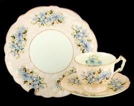 VINTAGE AYNSLEY BONE CHINA BLUE BACHELOR BUTTONS CUP SAUCER DESERT PLATE... - $80.99