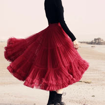 Burgundy Midi Puffy Tutu Skirt Burgundy High Waisted Layered Tulle Skirt Plus  image 2